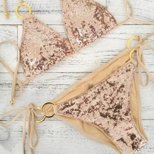 Other - Rose Gold Sequin Bikini